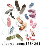Clipart Of Shoes Boots Sneakers And Heels Royalty Free Vector Illustration