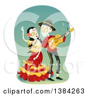 Clipart Of A Sugar Skull Couple Dancing And Playing A Guitar Royalty Free Vector Illustration