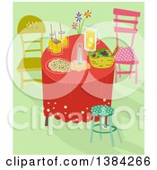 Clipart Of A Whimsical Table Setting With Food And Drinks On Green Royalty Free Vector Illustration