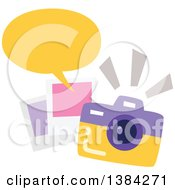 Clipart Of A Camera With Snapshots And A Speech Balloon Royalty Free Vector Illustration