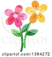 Clipart Of Yellow And Pink Daisy Flowers Royalty Free Vector Illustration
