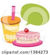 Clipart Of A Speech Balloon Over A Cake Slice And Soda Royalty Free Vector Illustration by BNP Design Studio