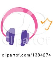 Clipart Of A Pair Of Girly Headphones And A Music Note Royalty Free Vector Illustration by BNP Design Studio