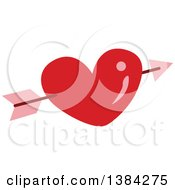 Clipart Of A Red Heart With Cupids Arrow Royalty Free Vector Illustration