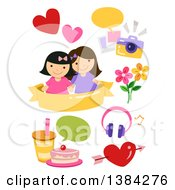 Girl Best Friends With Picture Food And Flower Design Elements