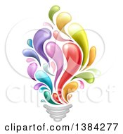 Clipart Of A Creative Light Bulb With Colorful Splashes Royalty Free Vector Illustration