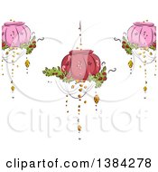 Clipart Of A Background Of Fancy Pink And Red Hanging Lanterns With Plants Royalty Free Vector Illustration by BNP Design Studio