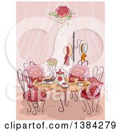 Clipart Of A Fancy Party Table Setting With Pink Curtains Royalty Free Vector Illustration