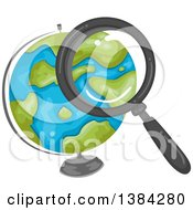 Clipart Of A Magnifying Glass Searching Over A Desk Globe Royalty Free Vector Illustration