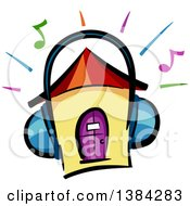 Clipart Of A House Wearing Headphones With Music Notes And Blaring Lines Royalty Free Vector Illustration by BNP Design Studio