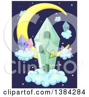 Clipart Of A Crescent Moon And Crystal Houses In The Night Sky Royalty Free Vector Illustration by BNP Design Studio