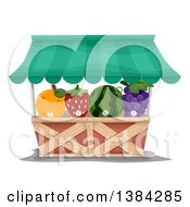Clipart Of A Market Fruit Vendor Stand With Fruit Shaped Juice Dispensers Royalty Free Vector Illustration by BNP Design Studio