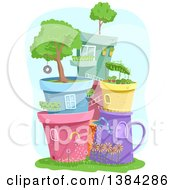 Clipart Of Colorful Plant Pots Stacked And Forming A Town With Mini Gardens Royalty Free Vector Illustration