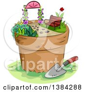 Clipart Of A Miniature Garden In A Platn Pot With A Bench And Arbor Royalty Free Vector Illustration