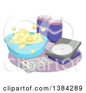 Bowl Of Popcorn Sodas Dvd And Remote Control For A Movie Night At Home