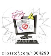Clipart Of A Desktop Computer With An Internet Safety Notice Or Warning Royalty Free Vector Illustration