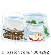 Clipart Of Bagged Broccoli Apples And Chocolate Sticks Royalty Free Vector Illustration