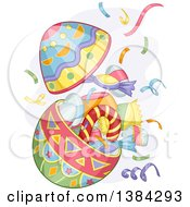 Clipart Of A Colorful Patterned Open Easter Egg Exploding With Candy Royalty Free Vector Illustration