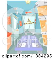 Clipart Of A Science Laboratory Interior With Machines Royalty Free Vector Illustration