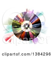 Clipart Of A Vinyl Record With Colorful Lights And Flares Royalty Free Vector Illustration by BNP Design Studio