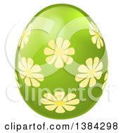 Clipart Of A 3d Green Easter Egg With Yellow Flowers Royalty Free Vector Illustration