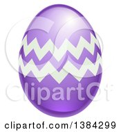 Clipart Of A 3d Purple Easter Egg With Zig Zags Royalty Free Vector Illustration