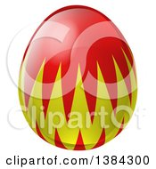 Clipart Of A 3d Red And Green Easter Egg Royalty Free Vector Illustration