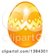 Clipart Of A 3d Orange And Golden Easter Egg Royalty Free Vector Illustration