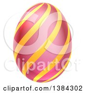 Clipart Of A 3d Pink Easter Egg With Stripes Royalty Free Vector Illustration