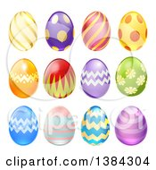 Clipart Of 3d Colorful Patterned Easter Eggs Royalty Free Vector Illustration