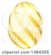 Clipart Of A 3d Golden Easter Egg With Stripes Royalty Free Vector Illustration