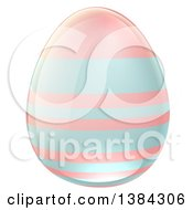Clipart Of A 3d Pastel Blue And Pink Easter Egg With Stripes Royalty Free Vector Illustration by AtStockIllustration