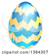 Clipart Of A 3d Blue And Yellow Easter Egg With Zig Zags Royalty Free Vector Illustration