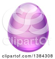 Clipart Of A 3d Purple Easter Egg With Stripes Royalty Free Vector Illustration