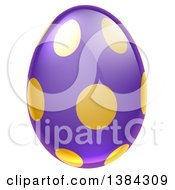 Clipart Of A 3d Purple Easter Egg With Golden Dots Royalty Free Vector Illustration