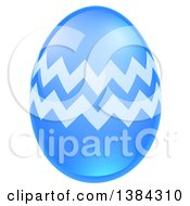 Clipart Of A 3d Blue Easter Egg With Zig Zags Royalty Free Vector Illustration