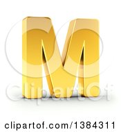 Clipart Of A 3d Golden Capital Letter M On A Shaded White Background With Clipping Path Royalty Free Illustration by stockillustrations
