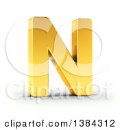 Clipart Of A 3d Golden Capital Letter N On A Shaded White Background With Clipping Path Royalty Free Illustration by stockillustrations