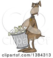 Clipart Of A Cartoon Brown Dog Carrying A Garbage Can Of Bones Royalty Free Vector Illustration