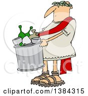 Clipart Of A Cartoon Roman Man Carrying A Garbage Can Full Of Bottles And Wine Glasses Royalty Free Vector Illustration