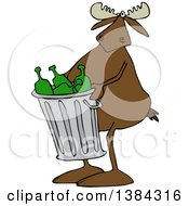 Clipart Of A Cartoon Moose Carrying A Garbage Can Full Of Bottles Royalty Free Vector Illustration by djart