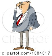 Clipart Of A Cartoon Chubby Bald White Business Man Scratching His Head And Looking Puzzled Royalty Free Vector Illustration