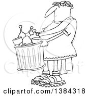 Clipart Of A Cartoon Black And White Lineart Roman Man Carrying A Garbage Can Full Of Bottles And Wine Glasses Royalty Free Vector Illustration