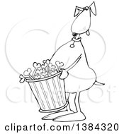 Cartoon Black And White Lineart Dog Carrying A Garbage Can Of Bones