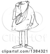 Clipart Of A Cartoon Black And White Lineart Chubby Bald Business Man Scratching His Head And Looking Puzzled Royalty Free Vector Illustration
