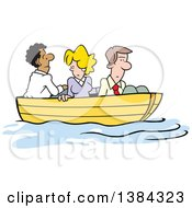 Clipart Of A Cartoon Business Team All In The Same Boat Stuck Up A Creek Without A Paddle Royalty Free Vector Illustration