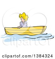 Clipart Of A Cartoon Blond White Woman Stuck Up A Creek Without A Paddle Royalty Free Vector Illustration