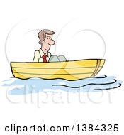 Clipart Of A Cartoon Blond White Man Stuck Up A Creek Without A Paddle Royalty Free Vector Illustration