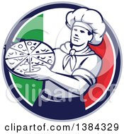 Clipart Of A Retro Male Chef Holding A Pizza Pie In An Italian Flag Circle Royalty Free Vector Illustration by patrimonio