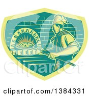 Clipart Of A Retro Woodcut Pizza Chef Holding A Peel With A Pie In Front Of A Brick Oven Royalty Free Vector Illustration